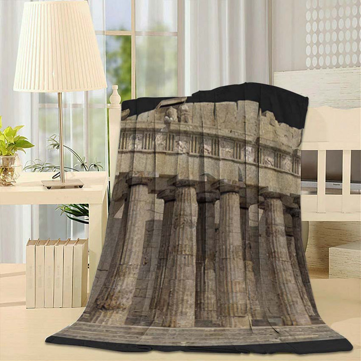 3D Render Parthenon Against Grey Background - Landmarks and Monuments Fleece Throw Blanket