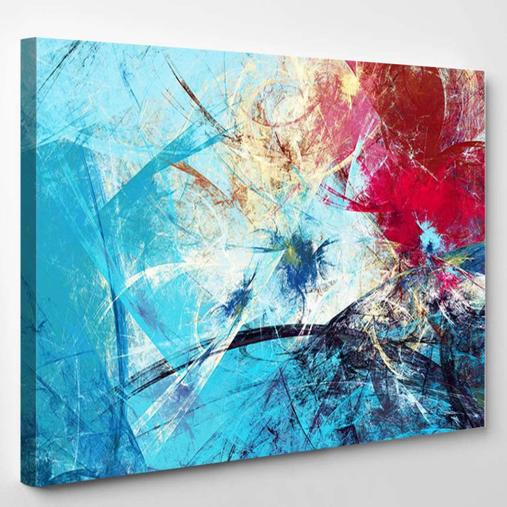 Cold Blue Winter Pattern With Lighting Effect - Abstract Canvas Wall Decor