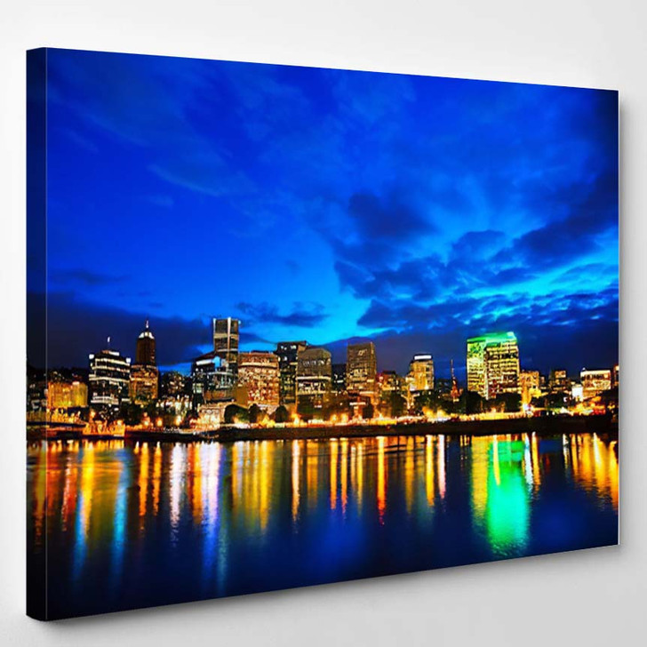 Downtown Portland Oregon Cityscape At The Night Time - Landscape Canvas Wall Decor