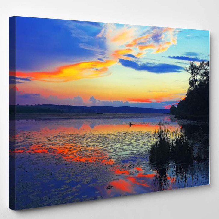 Dramatic Sunset Over The Lake Water Lilies On The Lake Twilight Mirror Reflection In Water - Nature Canvas Wall Decor