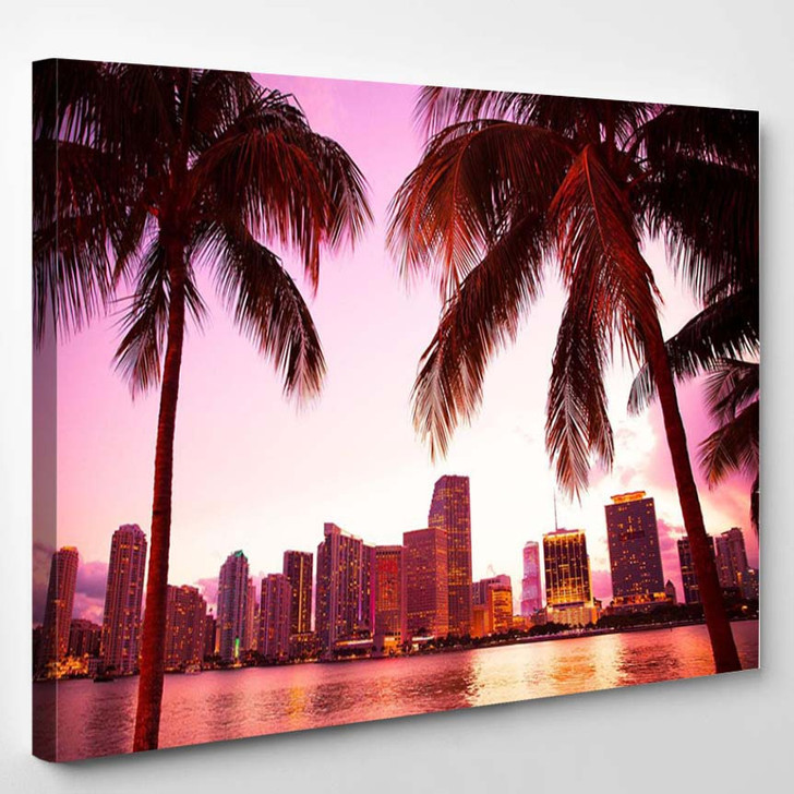 Miami Florida Skyline And Two Palm Trees - Landscape Canvas Wall Decor