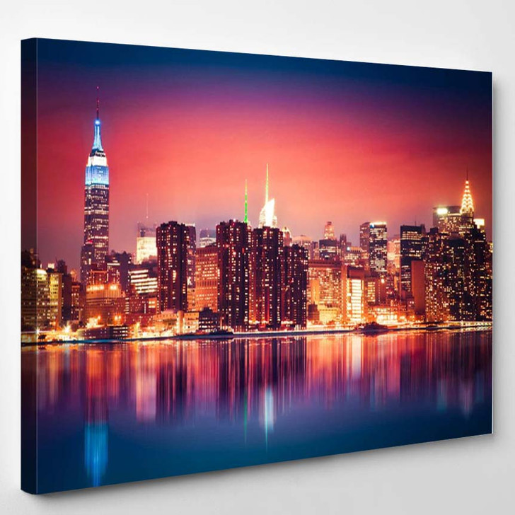 New York City Skyline Of Manhattan With Vibrant Night Colors - Landscape Canvas Wall Decor