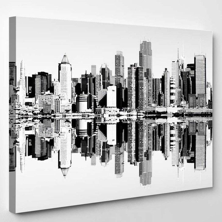 New York City Skyline Over The Hudson River Black And White Skyline Mirror Reflection - Landscape Canvas Wall Decor