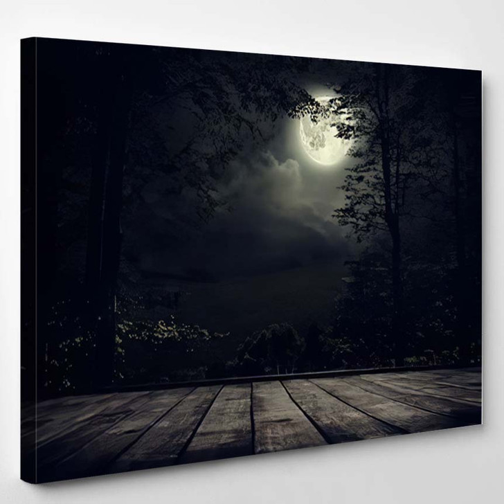 Night Mountains Landscape With Moon Light - - Sky And Space Canvas Wall Decor