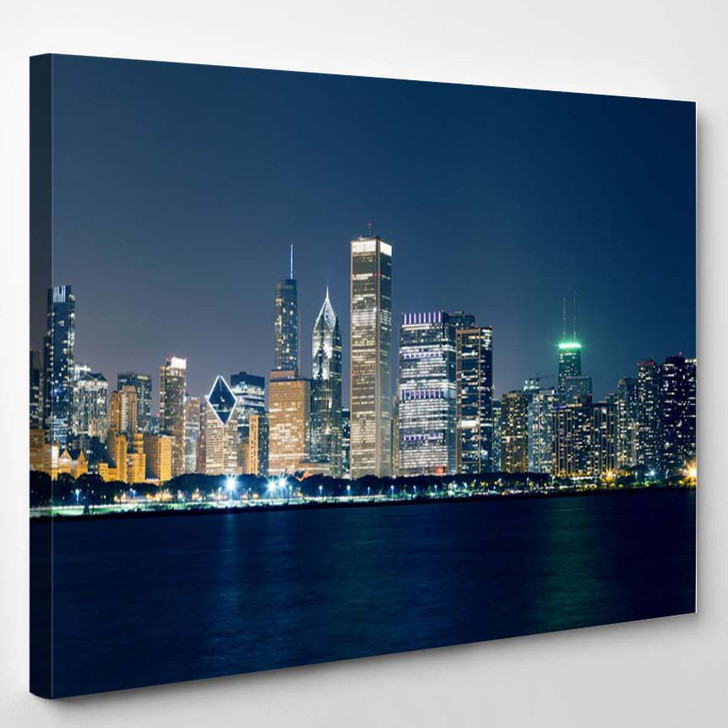 Night View On Chicago Skyline - Landscape Canvas Wall Decor