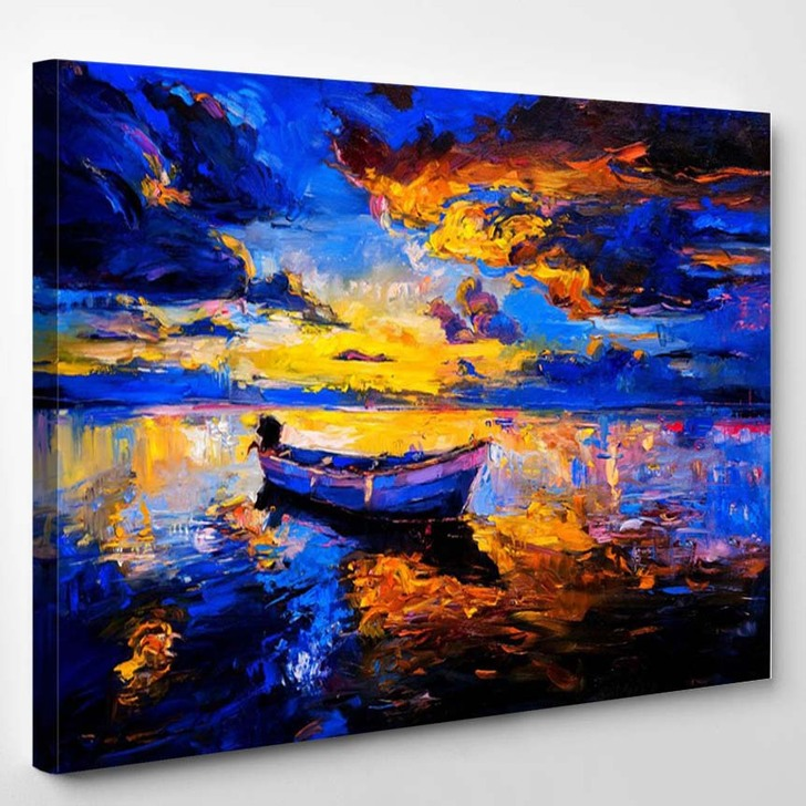 Original Oil Painting On Canvas Sky Sunset And Boat On The Water - Abstract Canvas Wall Decor
