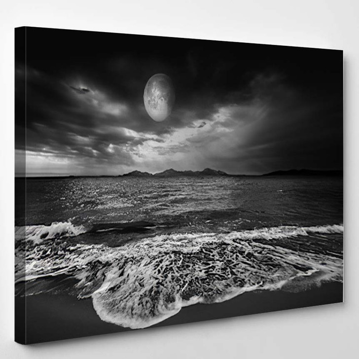 Sea Landscape With Moon - - Sky And Space Canvas Wall Decor