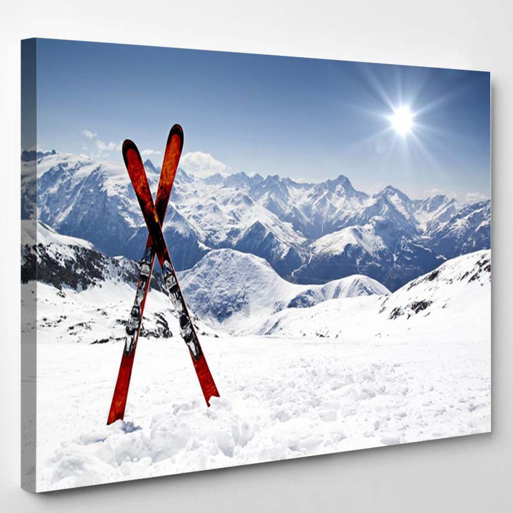 Skis In Snow - Sports And Recreation Canvas Wall Decor