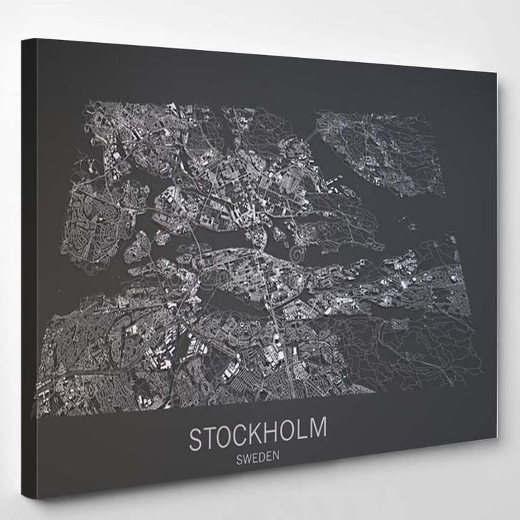 Stockholm Map Satellite View City Sweden Black And White - Abstract Canvas Wall Decor