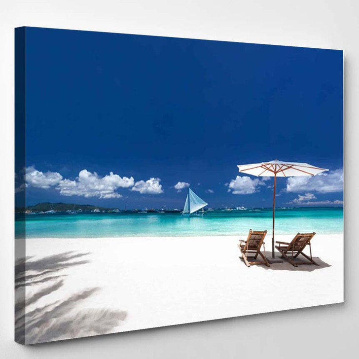 Sun Umbrellas And Wooden Beds On Tropical Beach Caribbean Vacation 2 - Nature Canvas Wall Decor
