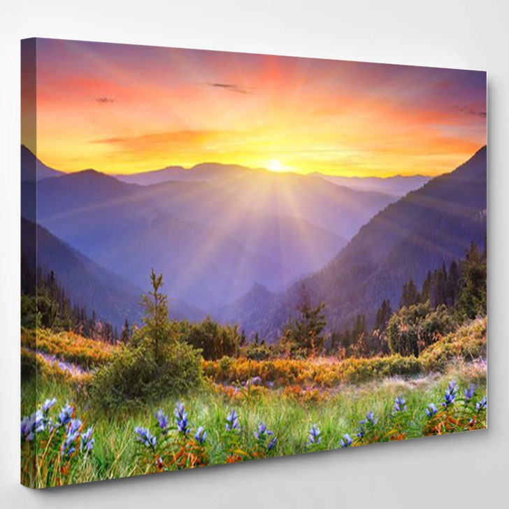 Sunset In The Mountains - Nature Canvas Wall Decor