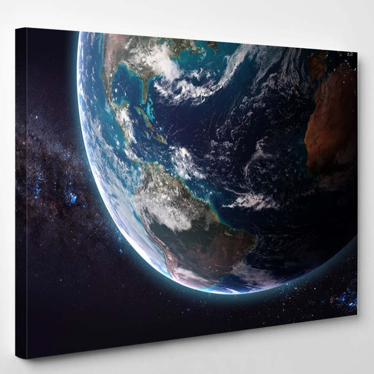 The Earth From Space Showing All They Beauty - - Sky And Space Canvas Wall Decor