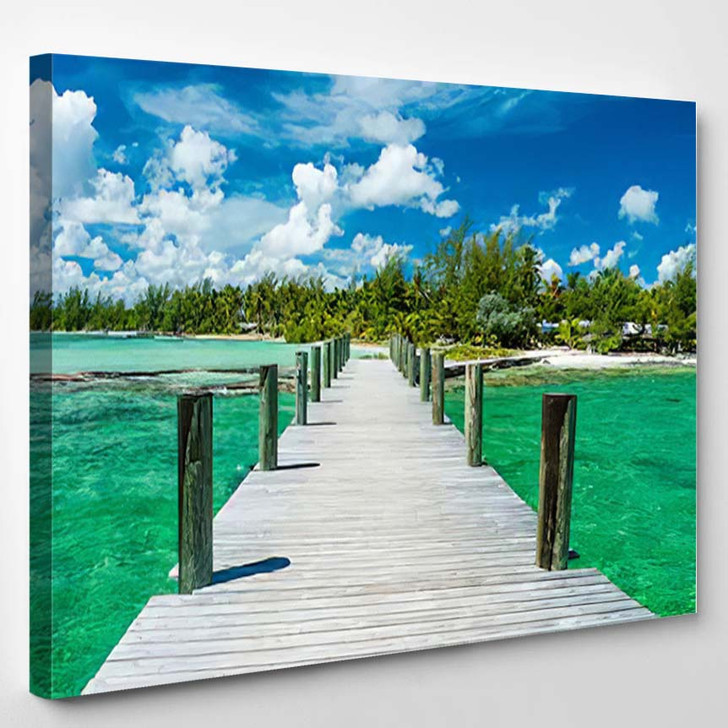 The Emerald Waters Of Andros Island Glisten Beneath An Idyllic Sky 2 - Nature Canvas Wall Decor