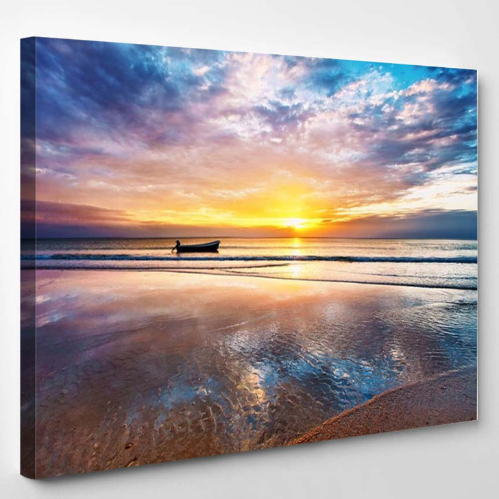 Tropical Beach At Beautiful Sunset Nature Background - Nature Canvas Wall Decor