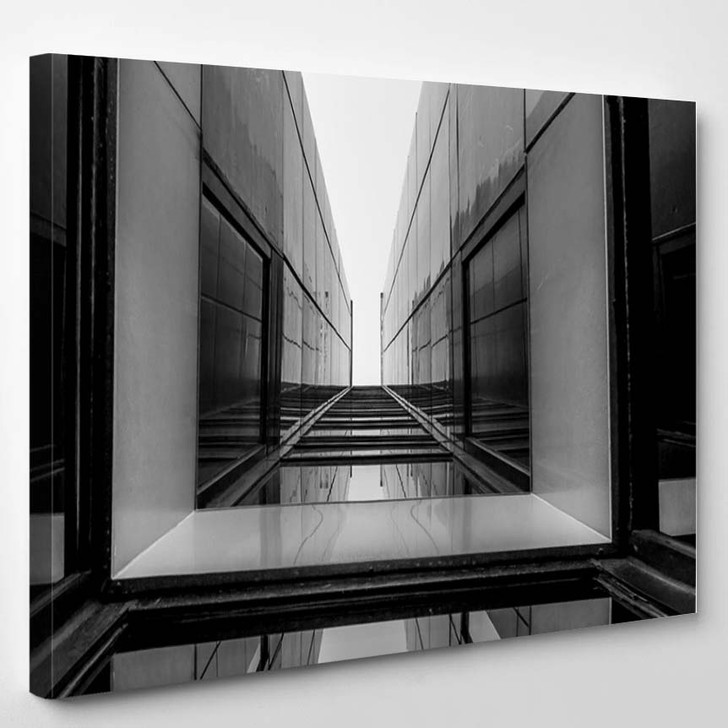 Urban Geometry Glass Building Black And White - Landscape Canvas Wall Decor