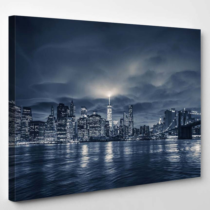 View Of Manhattan At Night New York City 2 - Landscape Canvas Wall Decor