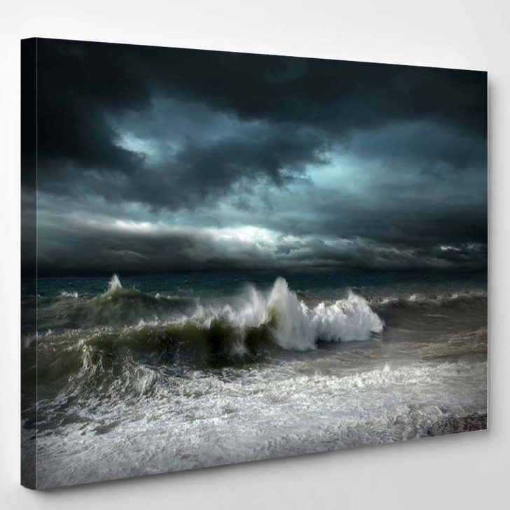 View Of Storm Seascape 2 - Nature Canvas Wall Decor