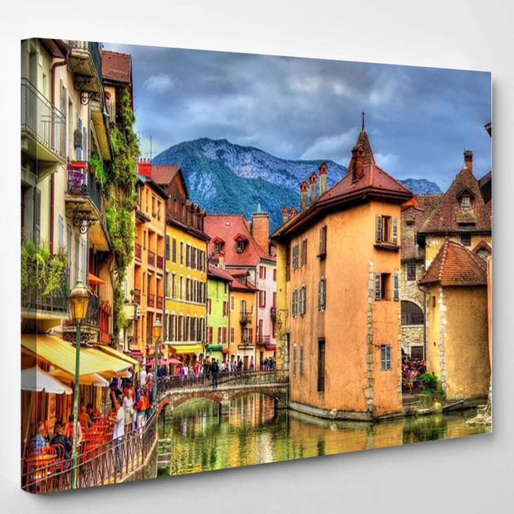 View Of The Old Town Of Annecy France - Landscape Canvas Wall Decor