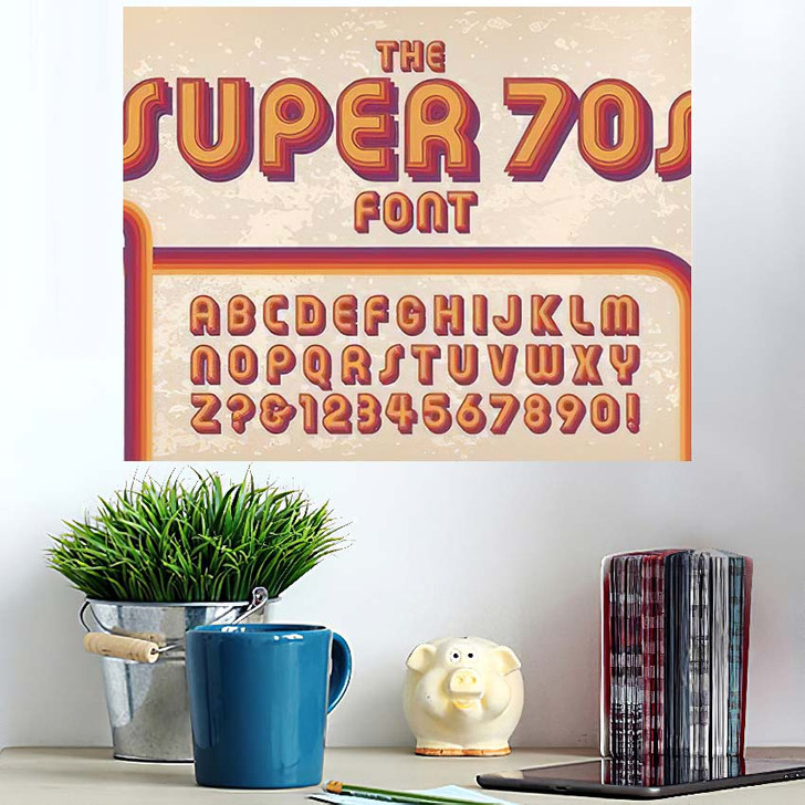 1970S Styled Retro Alphabet Against Grunge - Hippies Wall Art Poster
