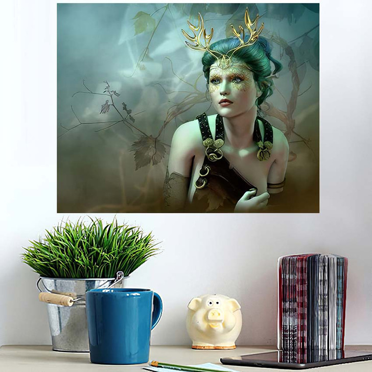 3D Computer Graphics Girl Golden Antlers - Fantasy Wall Art Poster