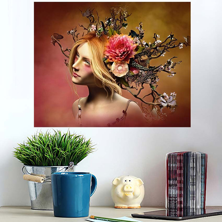 3D Computer Graphics Portrait Girl Headdress - Fantasy Wall Art Poster