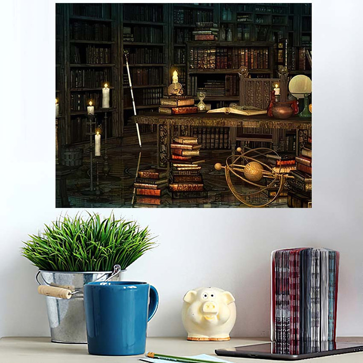 3D Computer Graphics Study Magician Middle - Fantasy Wall Art Poster