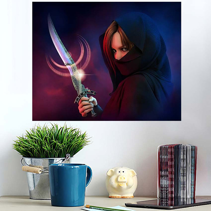 3D Computer Graphics Wrapped Female Assassin - Fantasy Wall Art Poster