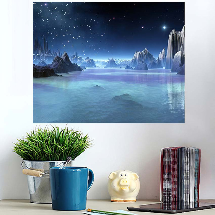 3D Created Rendered Fantasy Alien Planet - Fantasy Wall Art Poster