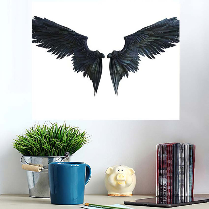 3D Illustration Demon Wings Black Wing - Fantasy Wall Art Poster