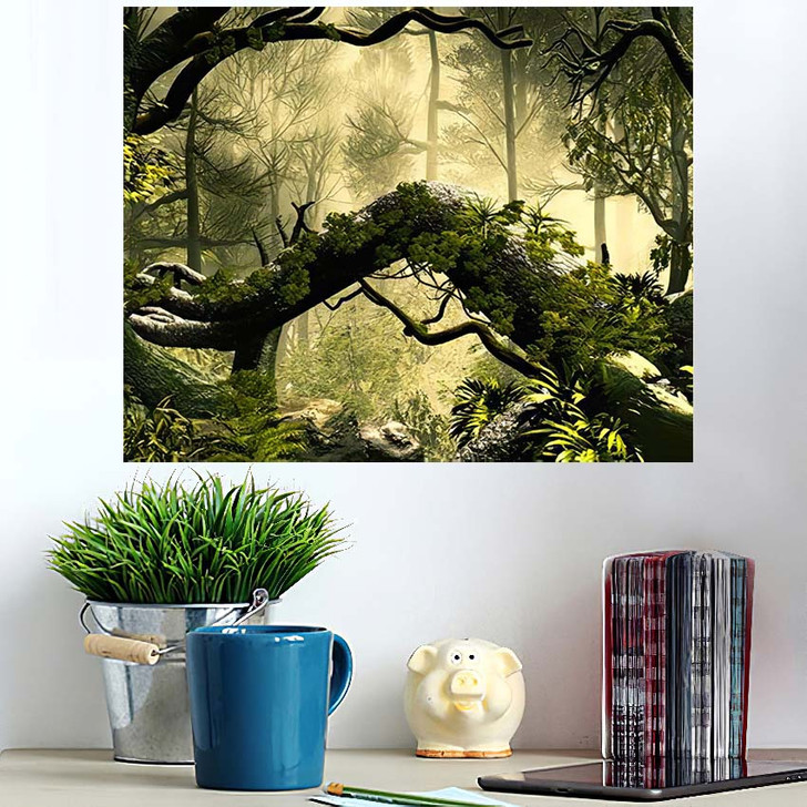 3D Illustration Forest Landscape Dense Cloudy - Fantasy Wall Art Poster
