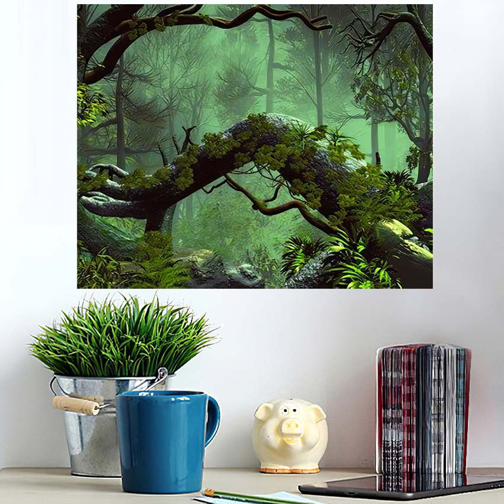 3D Illustration Forest Landscape Dense Cloudy 1 - Fantasy Wall Art Poster
