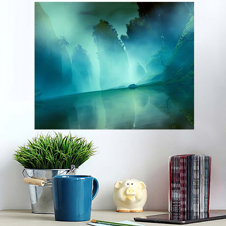 3D Illustration Landscape Various Rocky Formations - Fantasy Wall Art Poster