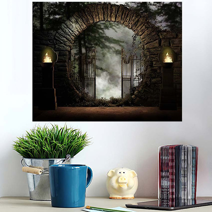 3D Illustration Stone Gated Moon Entrance - Fantasy Wall Art Poster