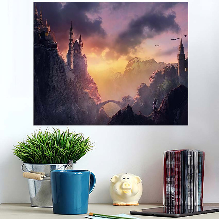 3D Image Castle On Mountain Sunset - Fantasy Wall Art Poster