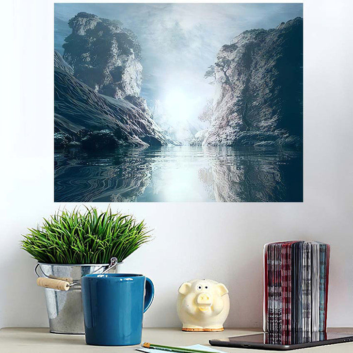 3D Landscape Illustration Where Observed Two - Fantasy Wall Art Poster