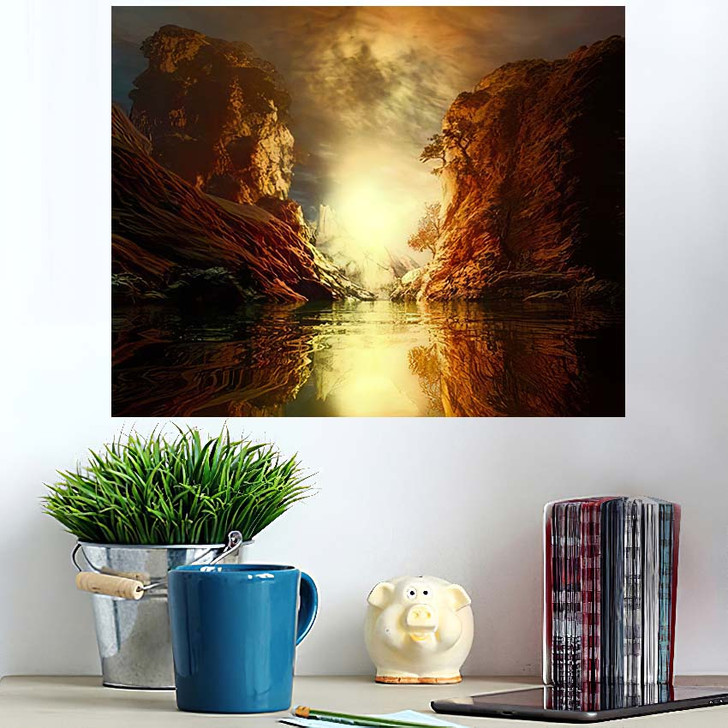 3D Landscape Illustration Where Observed Two 1 - Fantasy Wall Art Poster