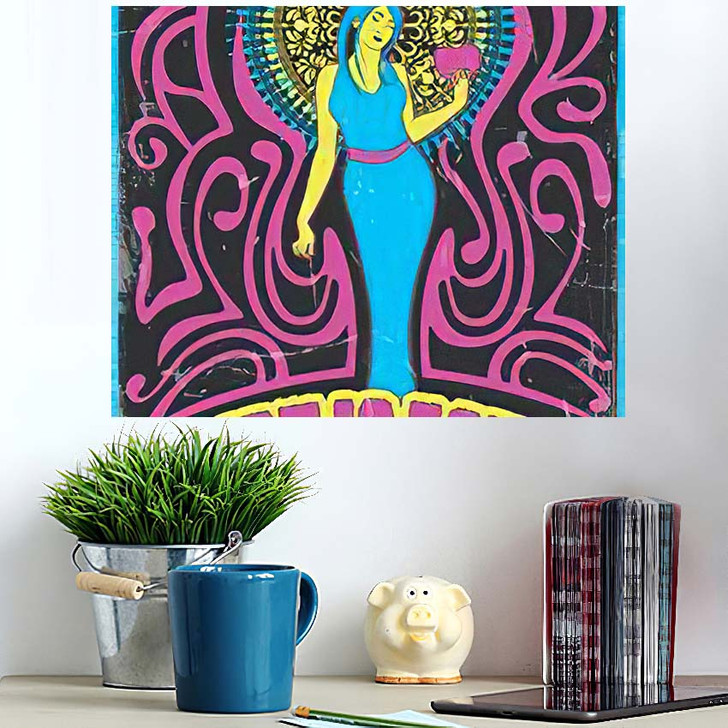 1970S Style Psychedelic Art Woman Heart - Psychedelic Wall Art Poster
