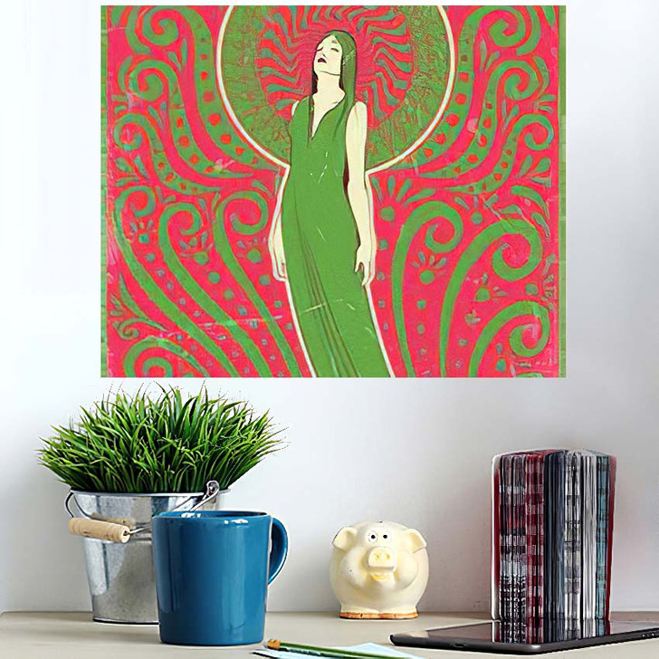 1970S Style Psychedelic Art Woman Love - Psychedelic Wall Art Poster
