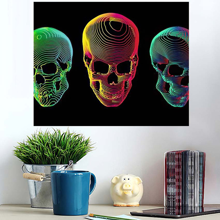 3 Psychedelic Gradient Colorful Line Skull 1 - Psychedelic Wall Art Poster
