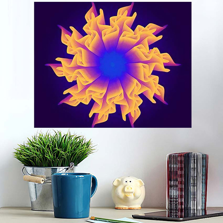 3D Flower Mesh Illustration Abstract Psychedelic - Psychedelic Wall Art Poster