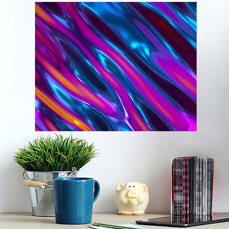 3D Render Abstract Background Iridescent Holographic - Psychedelic Wall Art Poster