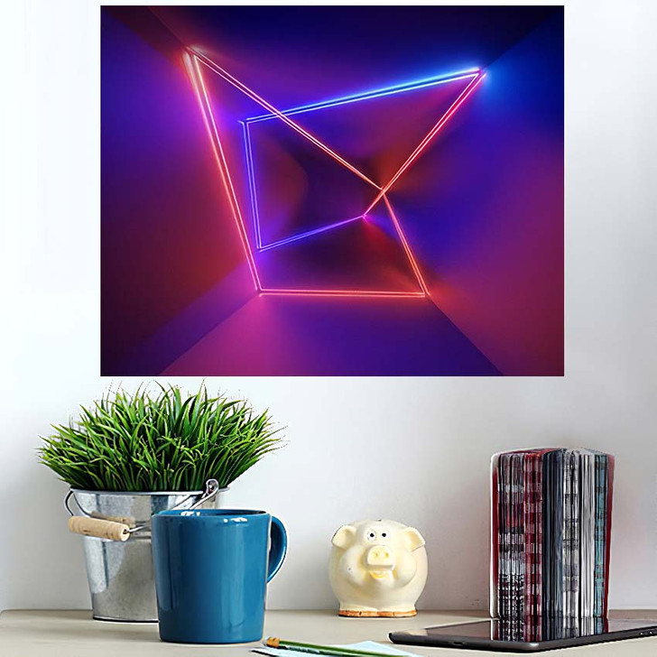 3D Render Ultraviolet Infrared Neon Lines - Psychedelic Wall Art Poster