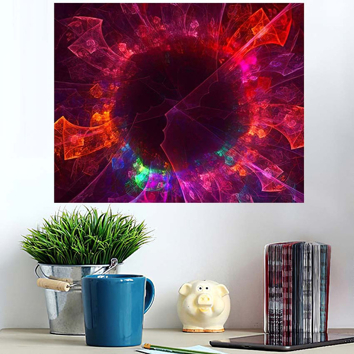3D Rendering Abstract Fantasy Light Fractal - Fantastic Wall Art Poster