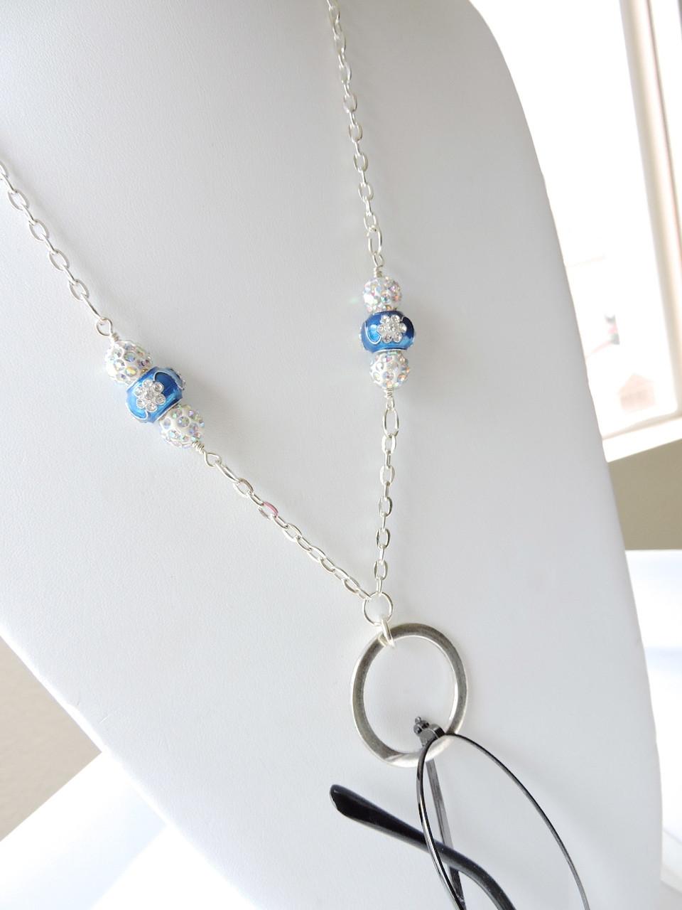 7f788b5fbf4 Eyeglasses Lanyard - Lovely Rhinestone Royal Blue n White Glasses Chain  Lanyard - Reading eyeglasses Holder