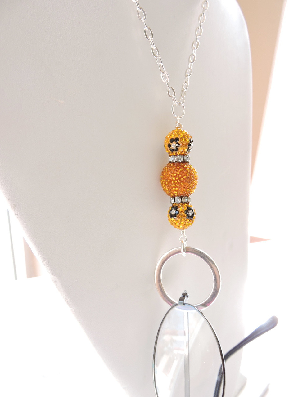 7134792281c Eyeglasses Lanyard - Lovely Orange Bling Glasses Chain Lanyard - Reading eyeglasses  Holder - Eyeglass Necklace