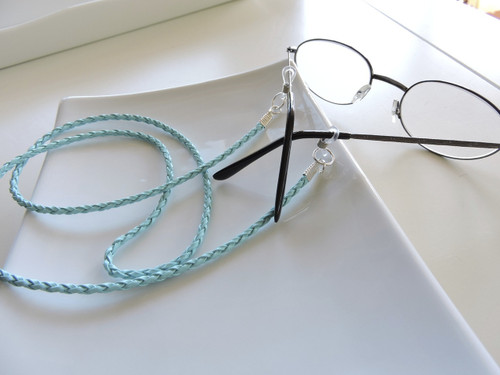 6e1dd8d738e7 Aqua Braided Leather Eyeglass Chain - Chain Reading Glasses Holders -  Sunglasses Holder - Leather Eyeglass Holder