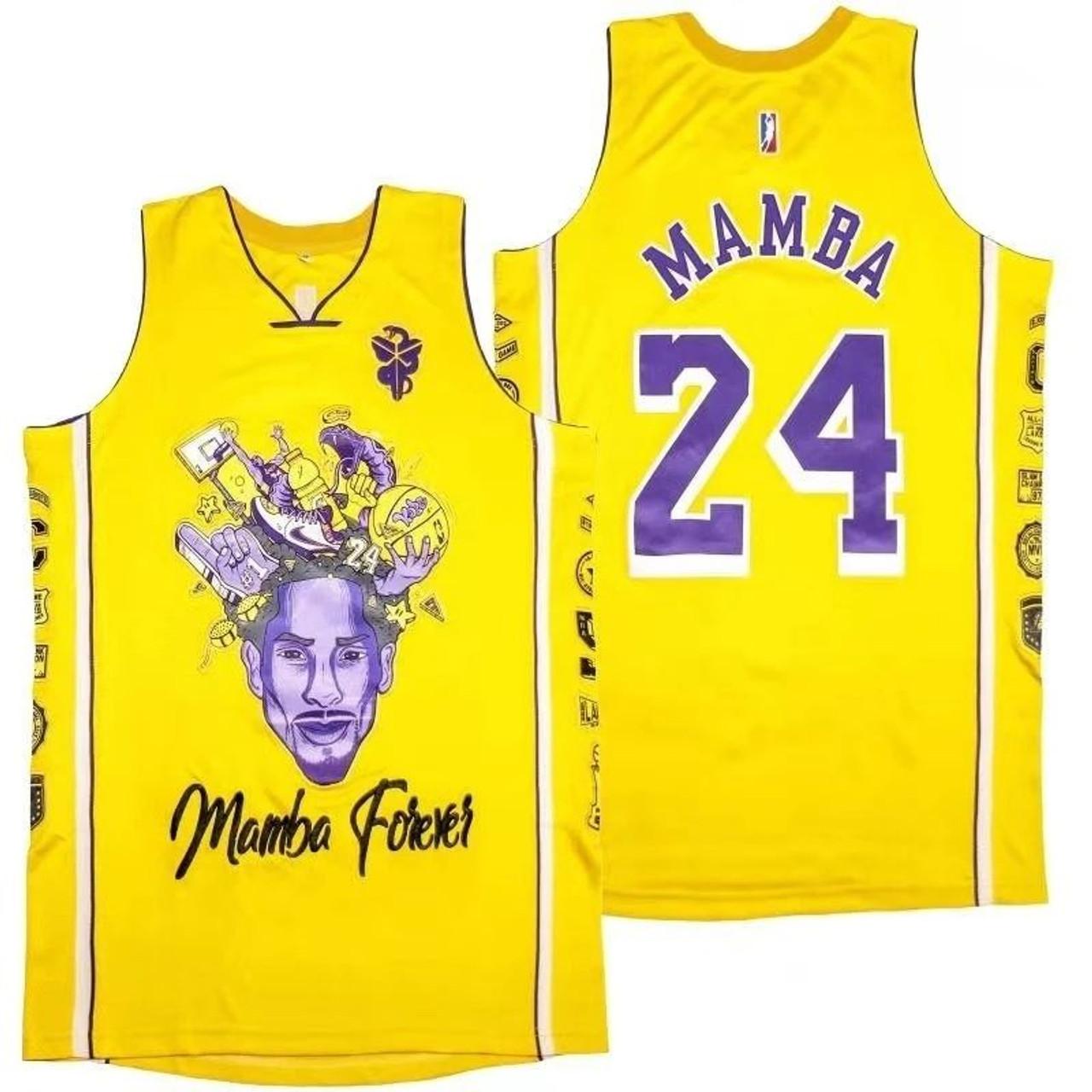 Mamba Forever Kobe Bryant 24 Tribute To Mamba Yellow Jersey Model ...