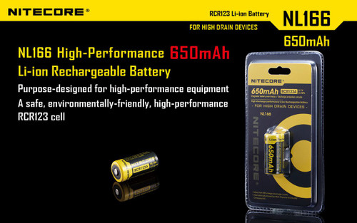 Nitecore NL166 Rechargeable Lithium Ion Battery RCR123A