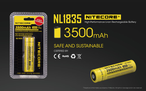 Nitecore NL1835 rechargeable lithium ion battery - House of Lumens