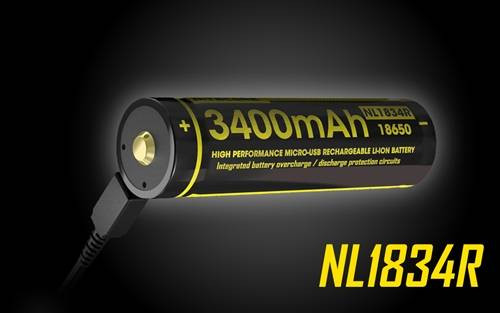 Nitecore NL1834R 3400 mAh USB Rechargeable Lithium ion 18650 Battery